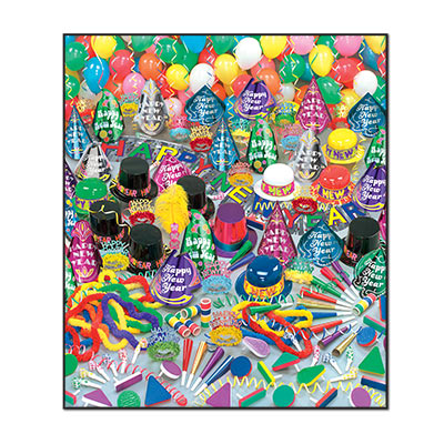 Super Bonanza - New Years Party Kit for 100 New Year's Eve, New Year's, party goods, party supplies, party kit, assortment, party hats, party horns, tiaras, streamer, banner, guests, decorations, balloons, noisemakers, party beads, glittered, for 100, multi-colored