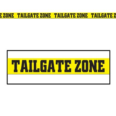 Yellow Tailgate Zone Party Tape with Bold Black Lettering