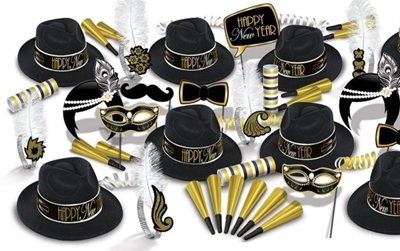 The Great 20s New Years Eve Party Kit for 50 The Great 20s New Years Eve Party Kit for 50, 20s, great 20s, 1920s, New Years Eve, party kit, party favors, hat, tiara, fun signs, horns, wholesale, inexpensive, bulk