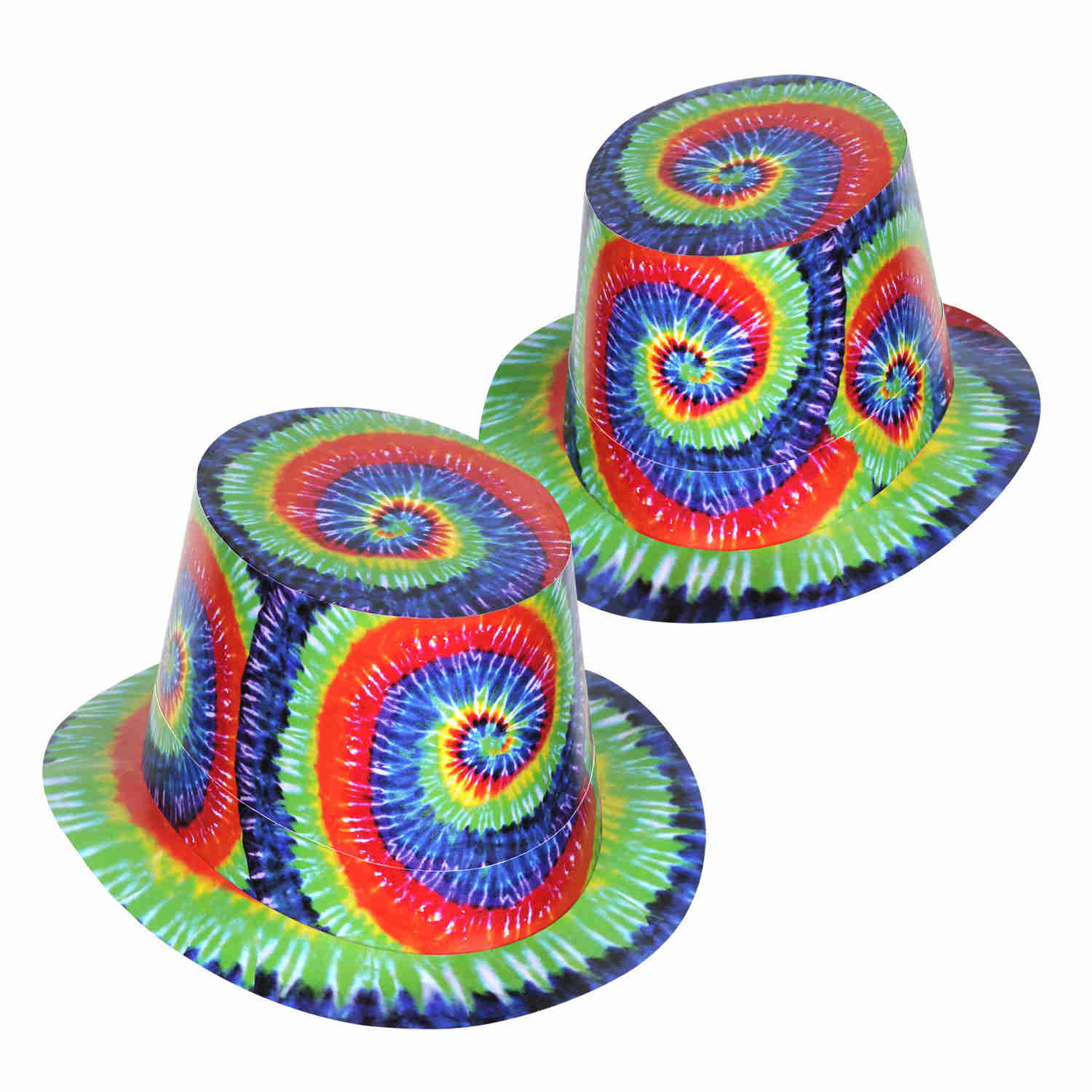 party hats with a 1960s theme tie dye print on them
