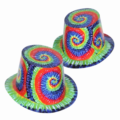 party hats with a 1960's theme tie dye print on them