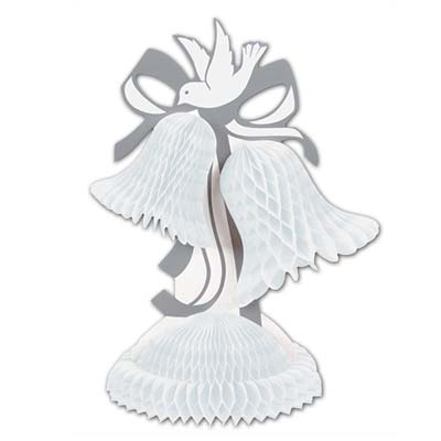 Tissue Bell Centerpiece with card stock silver ribbon and beautiful dove.