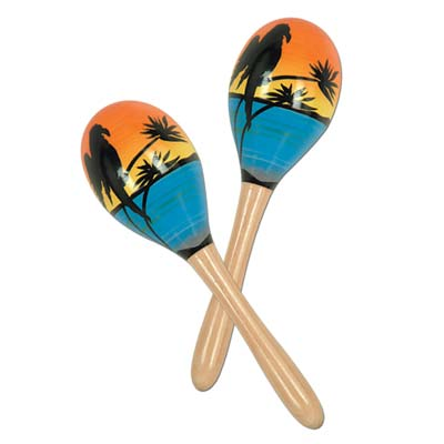 party maracas with island scene with a parrot, palm tree, and beach printed on them
