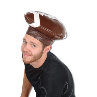 brown and white football shaped leather silly party hat