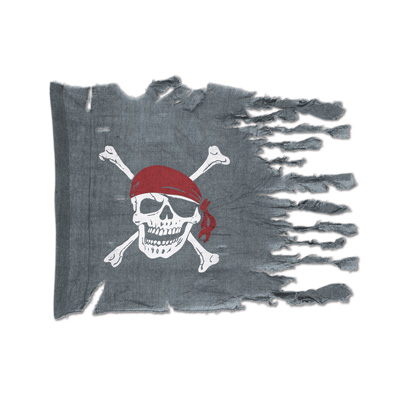 Gray fabric material with a weathered look printed with a skull and bones look.