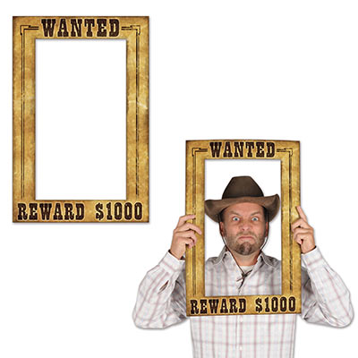 "Western Wanted Photo Fun Frame with a wood look and printed ""Wanted Reward $1000"" in black."
