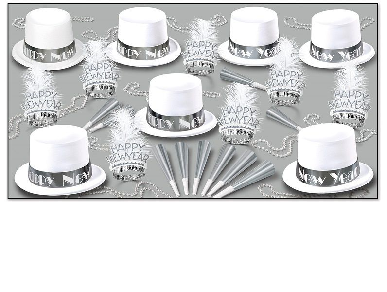 White Ice - New Years Party Kit For 50 white, toppers, top hat, tiara, velour, horns, party beads, party favors, new years eve, silver, ice, inexpensive, wholesale, bulk