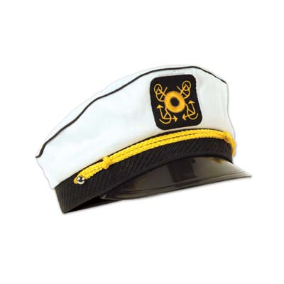 Yacht captains cap with great details in black and yellow.