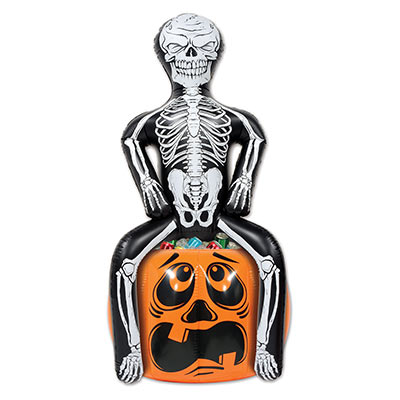 inflated cooler of a skeleton sitting on a jack-o-lantern