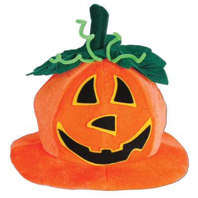 fabric jack-o-lantern hat for halloween