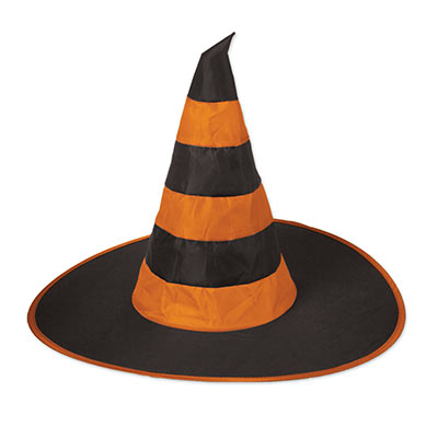 large orange and black nylon fabric witch hat