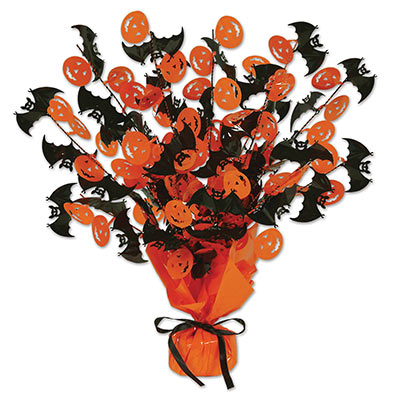 black and orange Halloween centerpiece with metallic black bats and orange jack-o-lanterns