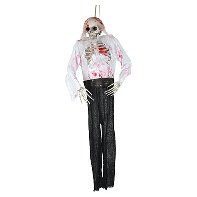 creepy hanging skeleton with blood Halloween decoration