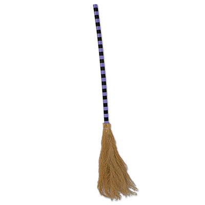 Witches broom with a purple and black handle