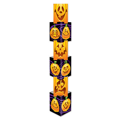 large stackable Halloween decoration with funny jack-o-lantern faces printed on the stacked boxes