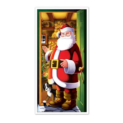 Christmas door cover with Santa standing in a doorway motioning for you to enter into his workshop