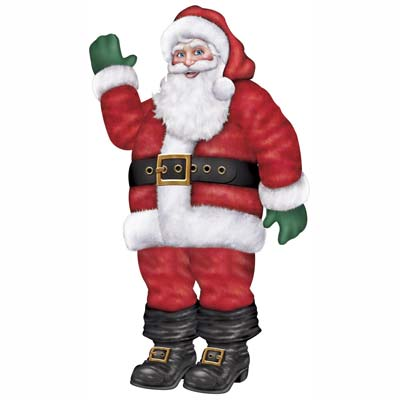 Large cutout of Santa with green gloves smiling and waving