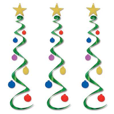 hanging Christmas decoration that has a star at the top with green whirls hanging down with multiple colored balls attached