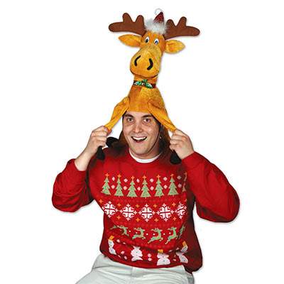 fabric hat that looks like a silly moose for Christmas time