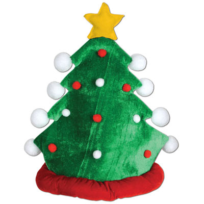 green fabric Christmas tree hat with a gold star on the top