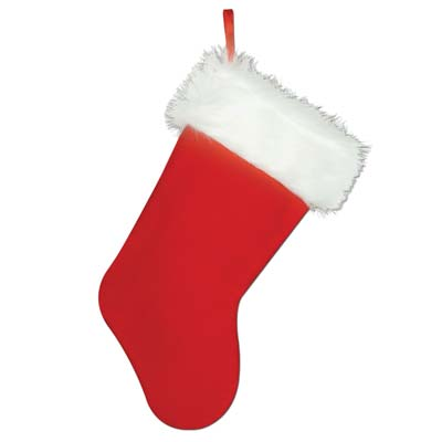 red and white hanging fabric Christmas stocking