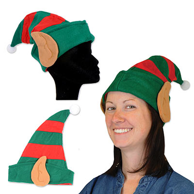 green and red elf hat with big elf ears on the side
