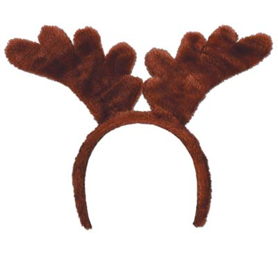 plush fabric brown reindeer ear headband