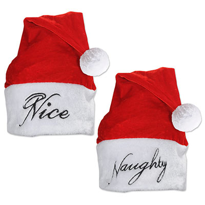 red and white fabric santa hats that has naughty written on one side and nice on the other