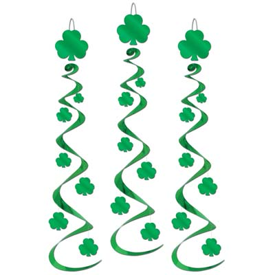 Hanging St. Patricks Day decorations with whirls and green shamrocks