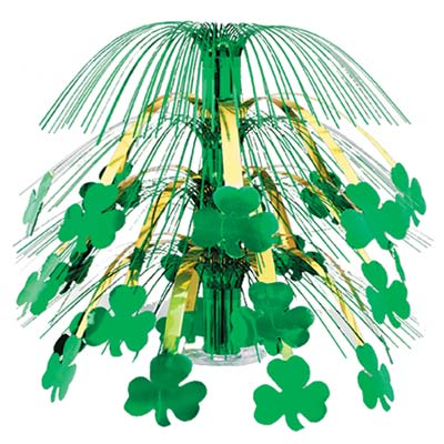St. Patricks Day centerpiece with green shamrocks attached to gold metallic strands