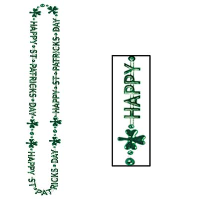 St. Patricks Day beads that are green that reads Happy St. Patricks Day with green shamrocks on the necklace