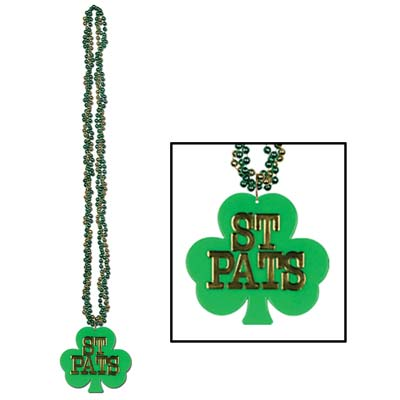 green beads wrapped around each other with a shamrock medallion at the bottom that has St. Pats printed on it in gold