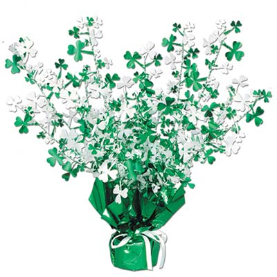 green and white St. Patricks Day centerpiece with shamrocks attached to a green weight