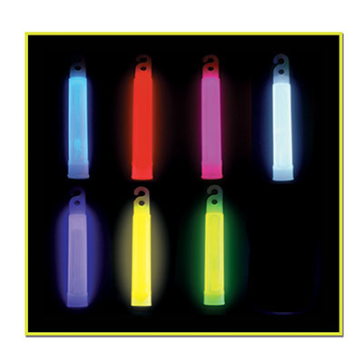 Six inch glow stick in assorted colors with necklace hole.