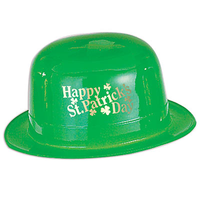 Green derby hat that reads Happy St. Patricks day in gold on the hat