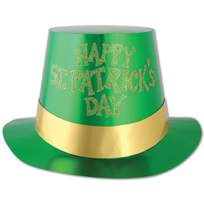 green St. Patricks Day Top Hat with glittered gold text that reads Happy St. Patricks Day