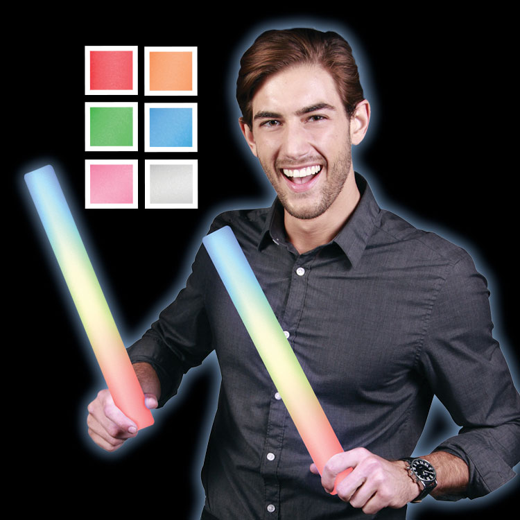 Multi-colored light up party foam sticks.