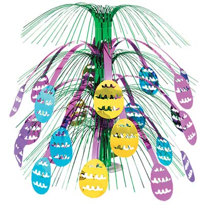 Pastel colored Easter centerpiece with purple, light blue, and gold Easter Eggs hanging around the center of the centerpiece