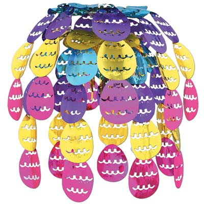 Easter Egg hanging cascade with large foil pink, gold, blue, and purple Easter eggs on it