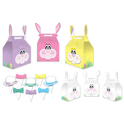 Easter Bunny paper favor boxes in pink purple and yellow with a bunny face on them