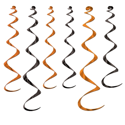 hanging whirls in orange and black in the theme of Halloween