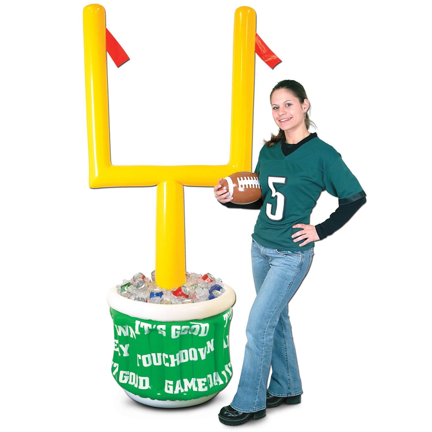 inflatable football goal post with a game day drink cooler at the bottom