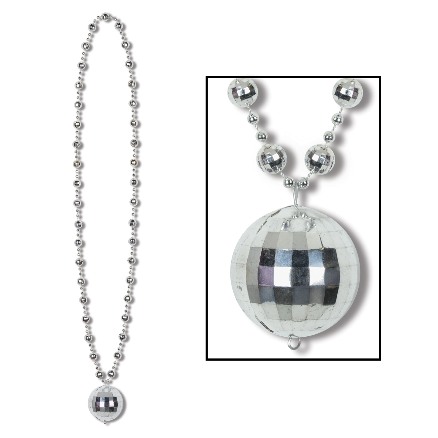 Silver disco ball necklace in the theme of 1970s disco