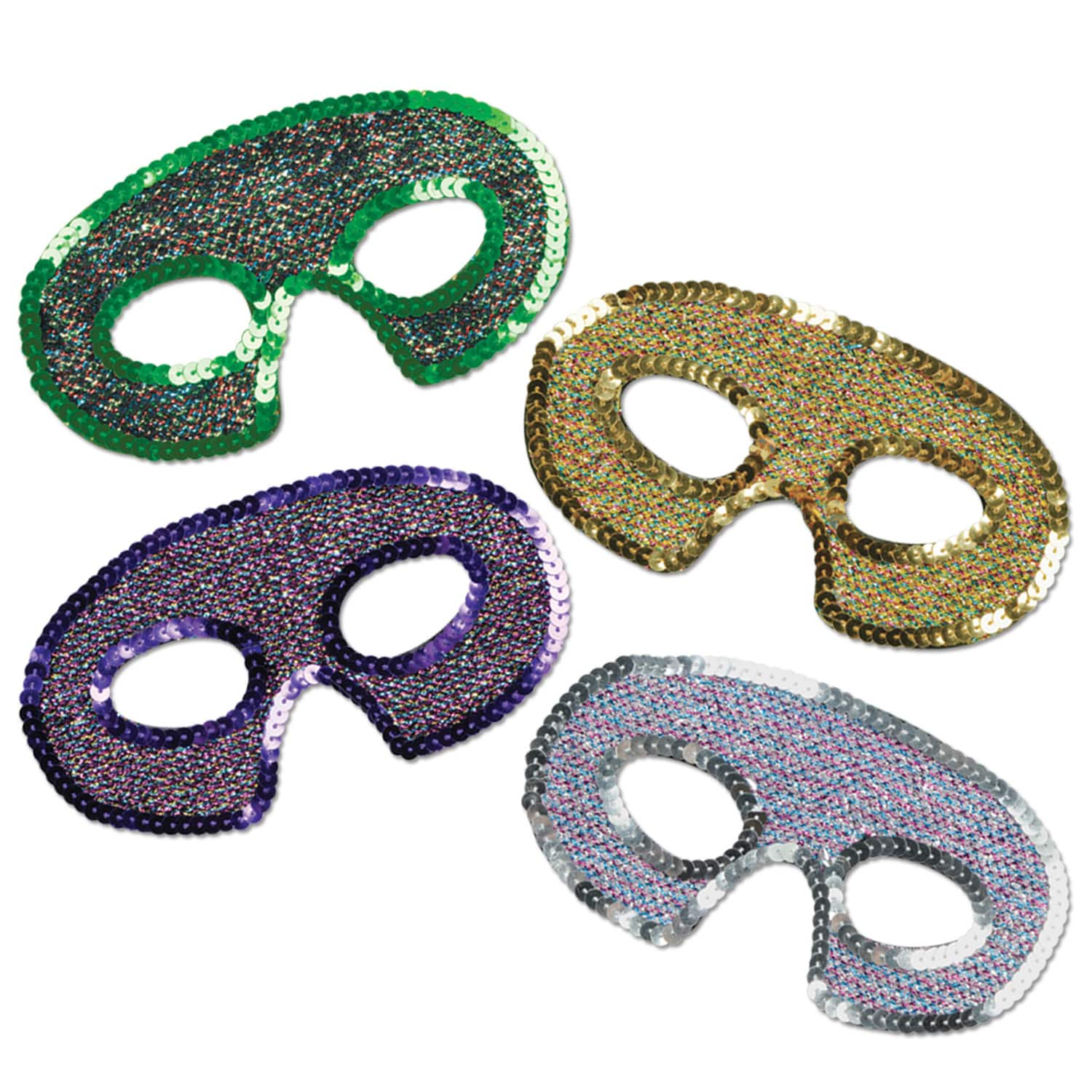 beautiful sequined half masks in green, gold, purple, and silver that cover just the eyes