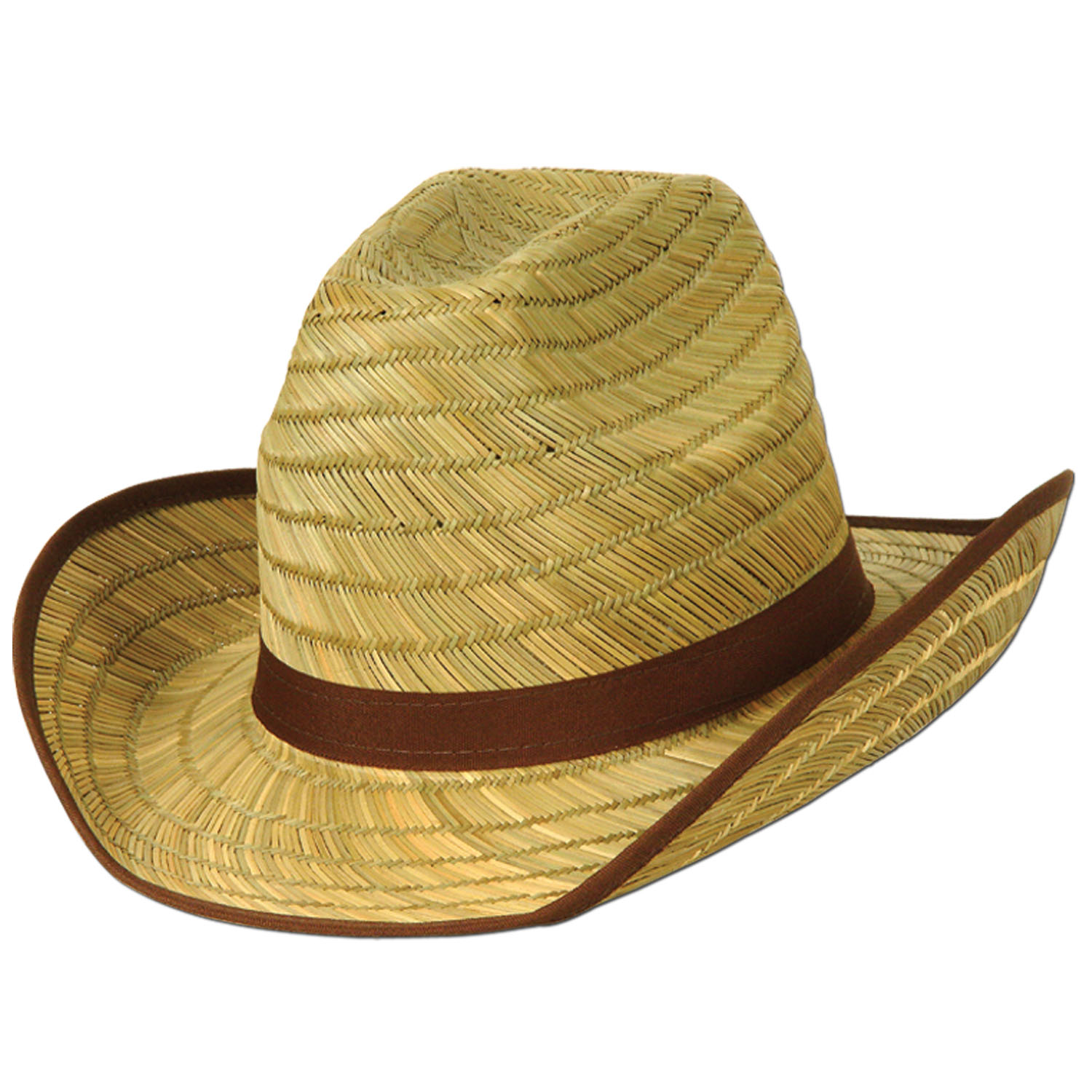 Adult cowboy straw hat with brown embelishments.