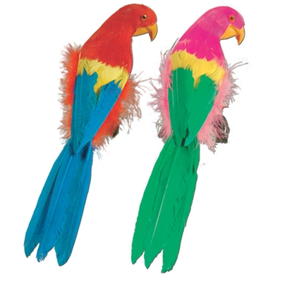 colorful fake parrots in bright colors with fake feathers