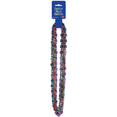 assortment of party beads that have dollar signs around the necklace in many colors