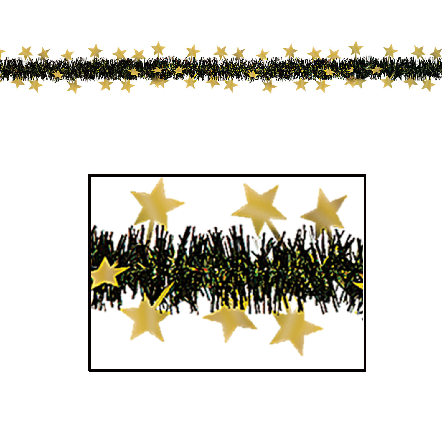 Black metallic fringe garland with gold stars.