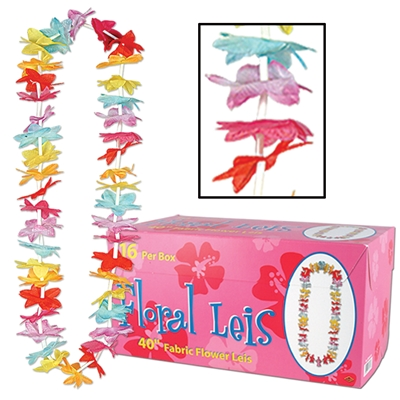 Boxed multi-colored floral luau leis.