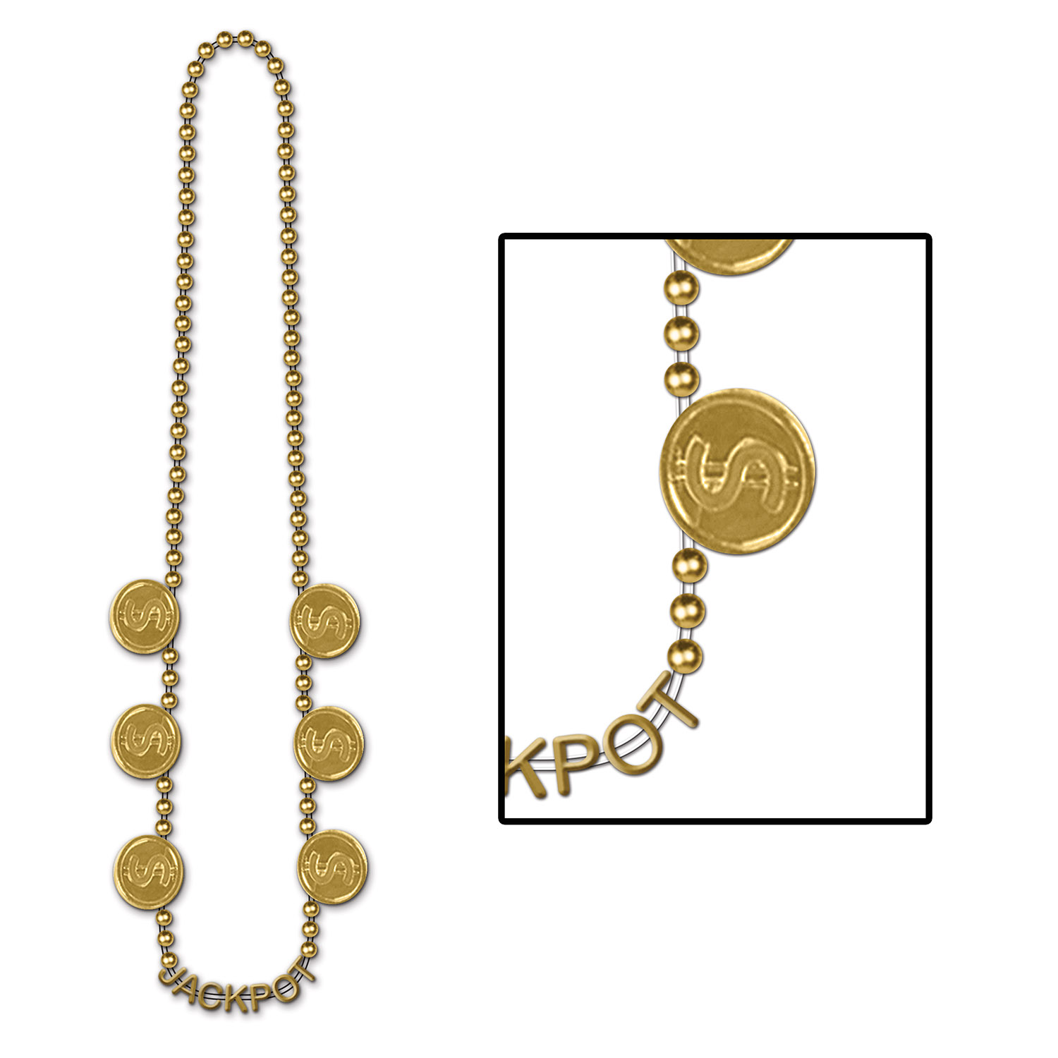gold beads with dollar sign medallions around the side and jackpot written at the bottom of the necklace